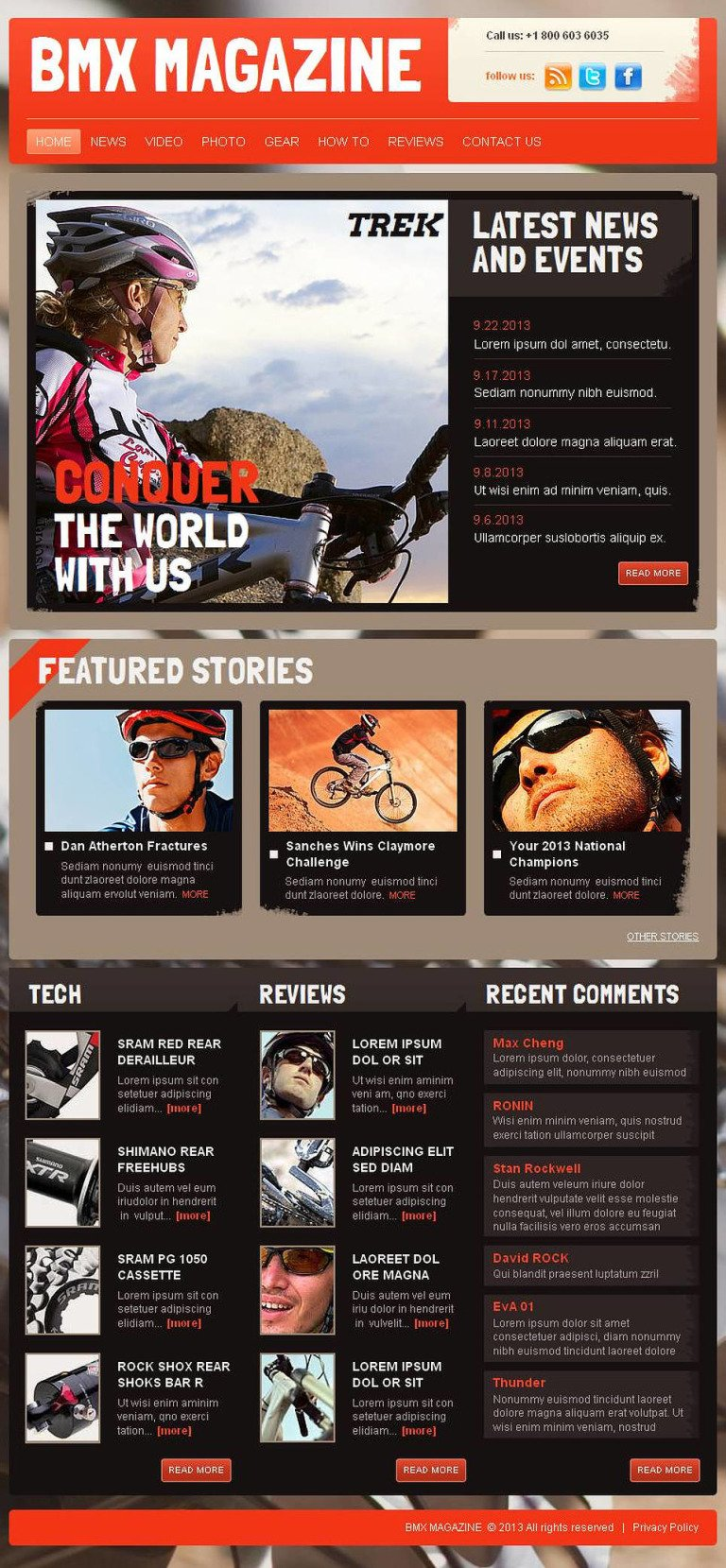 BMX Facebook HTML CMS Template New Screenshots BIG