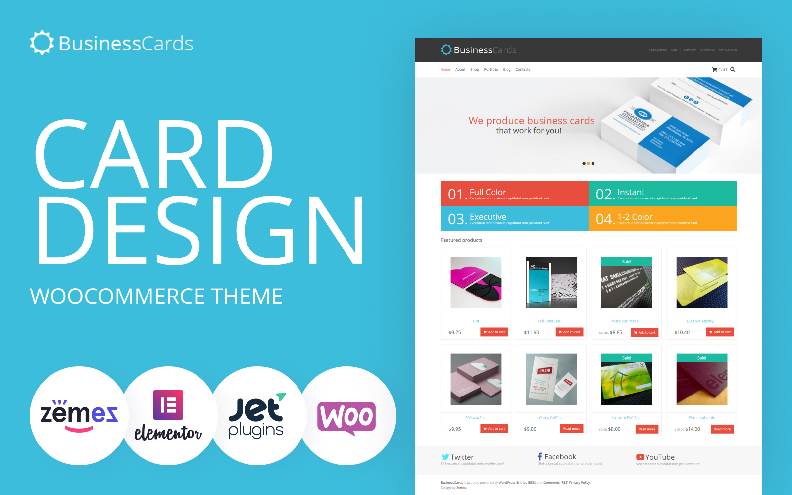 """Business Cards Store"" Responsive WooCommerce Thema №46435"