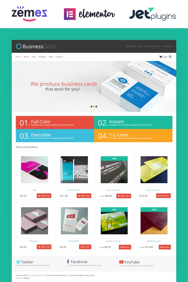 Business Cards Store WooCommerce Theme - Template business cards