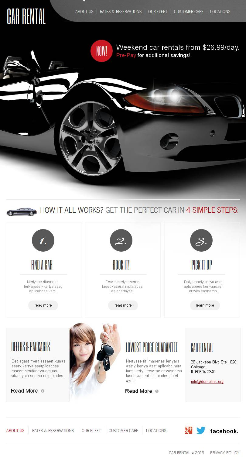 Car rental facebook html cms template