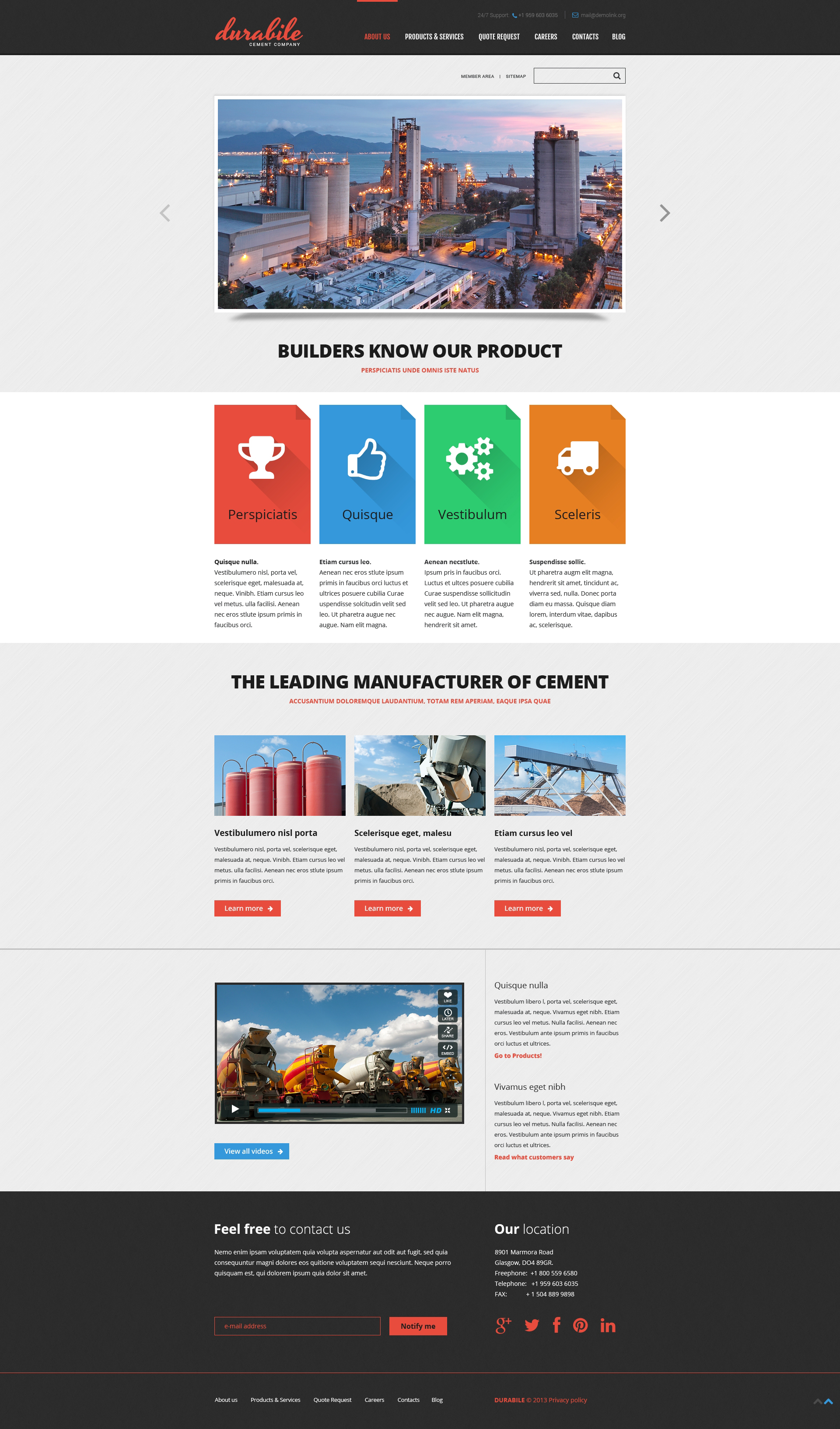 cement responsive website template  46438