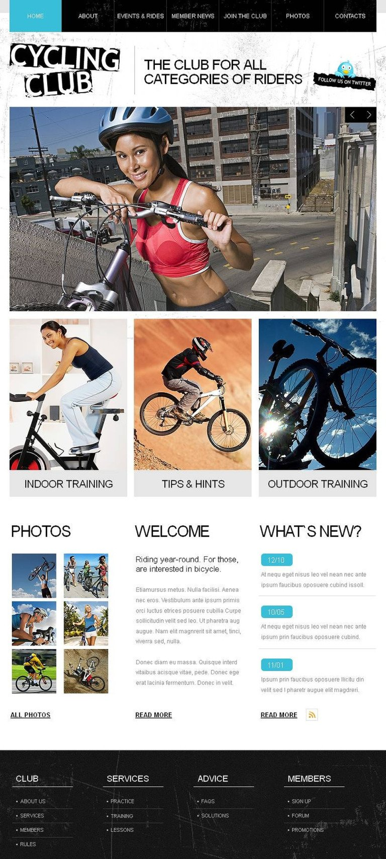 Cycling Facebook HTML CMS Template New Screenshots BIG