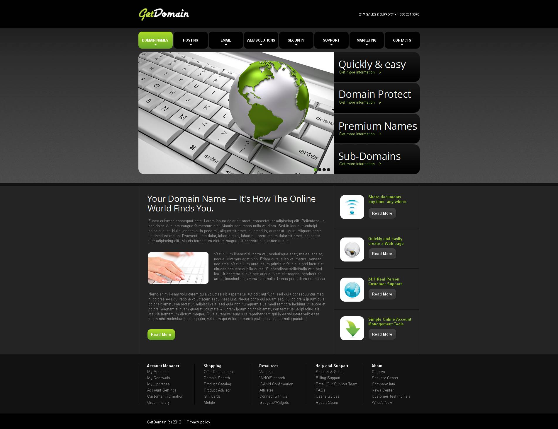 Domain Registrar Moto CMS HTML Template