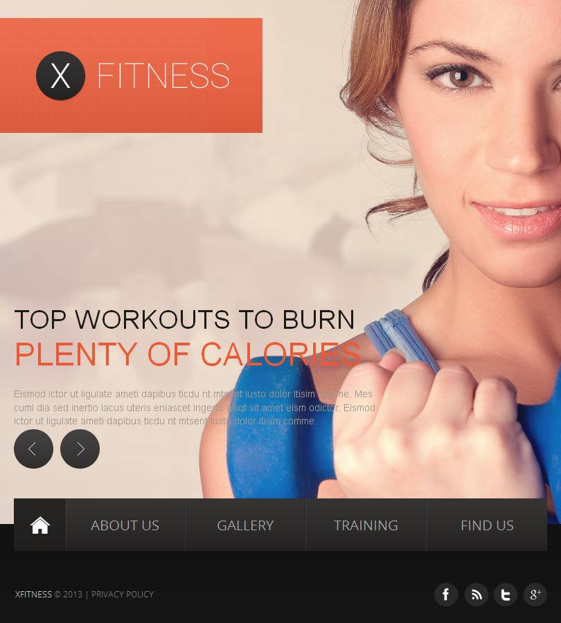 Fitness Facebook HTML CMS Template - screenshot