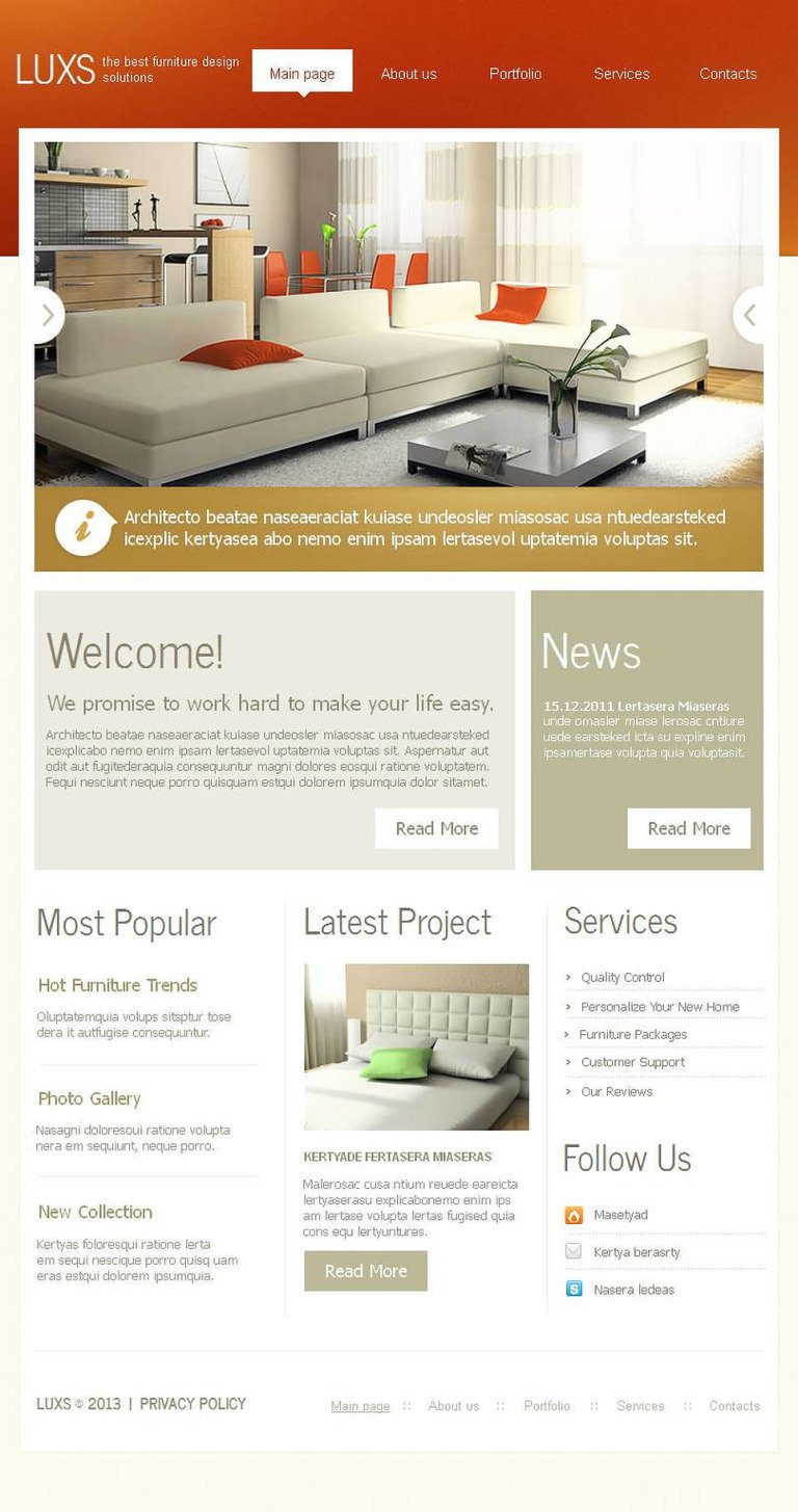 Furniture Facebook HTML CMS Template New Screenshots BIG