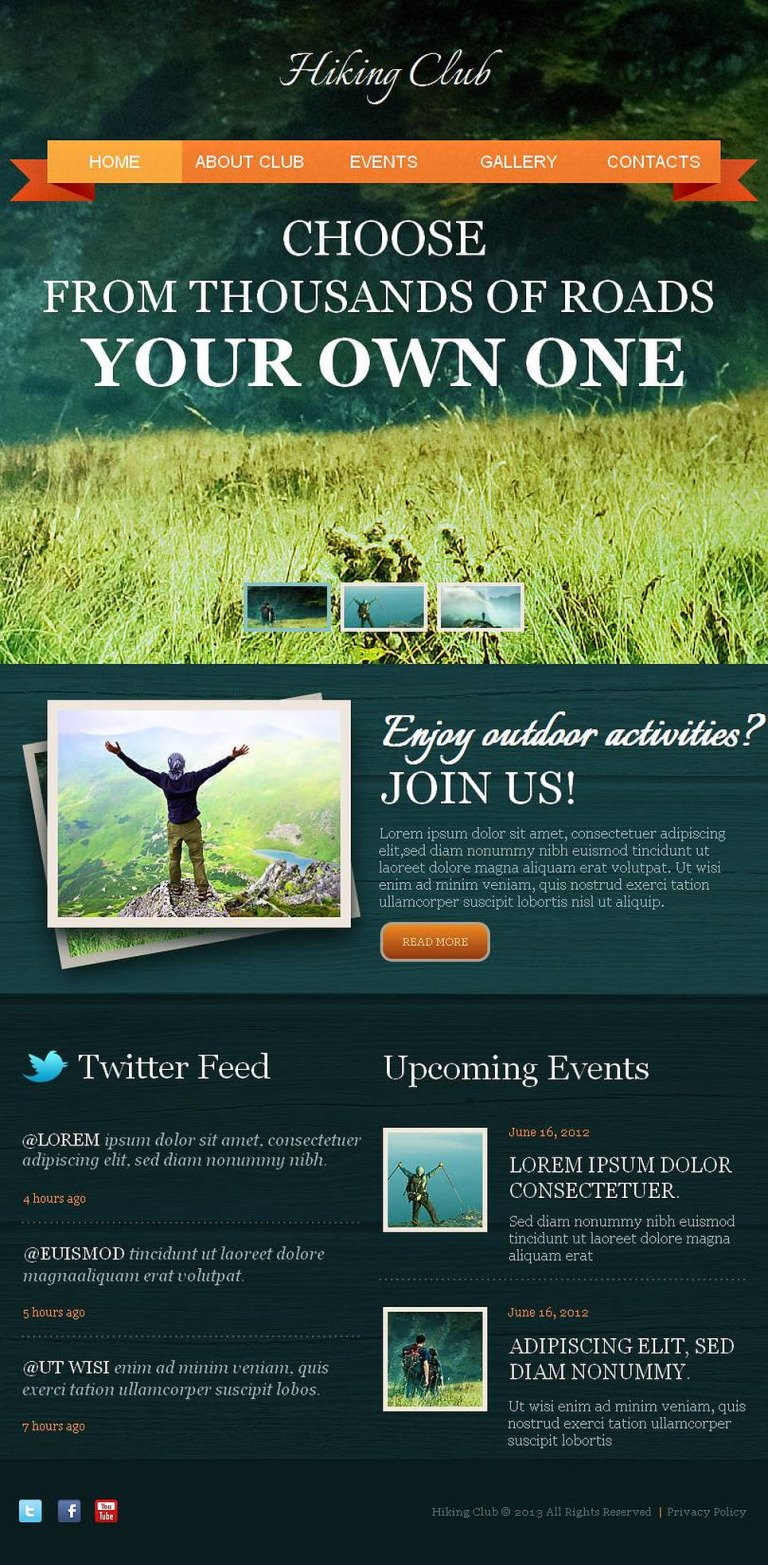 Hiking Facebook HTML CMS Template New Screenshots BIG