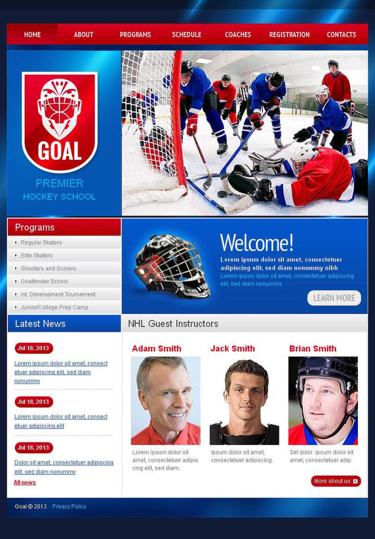 Hockey Facebook HTML CMS Template New Screenshots BIG