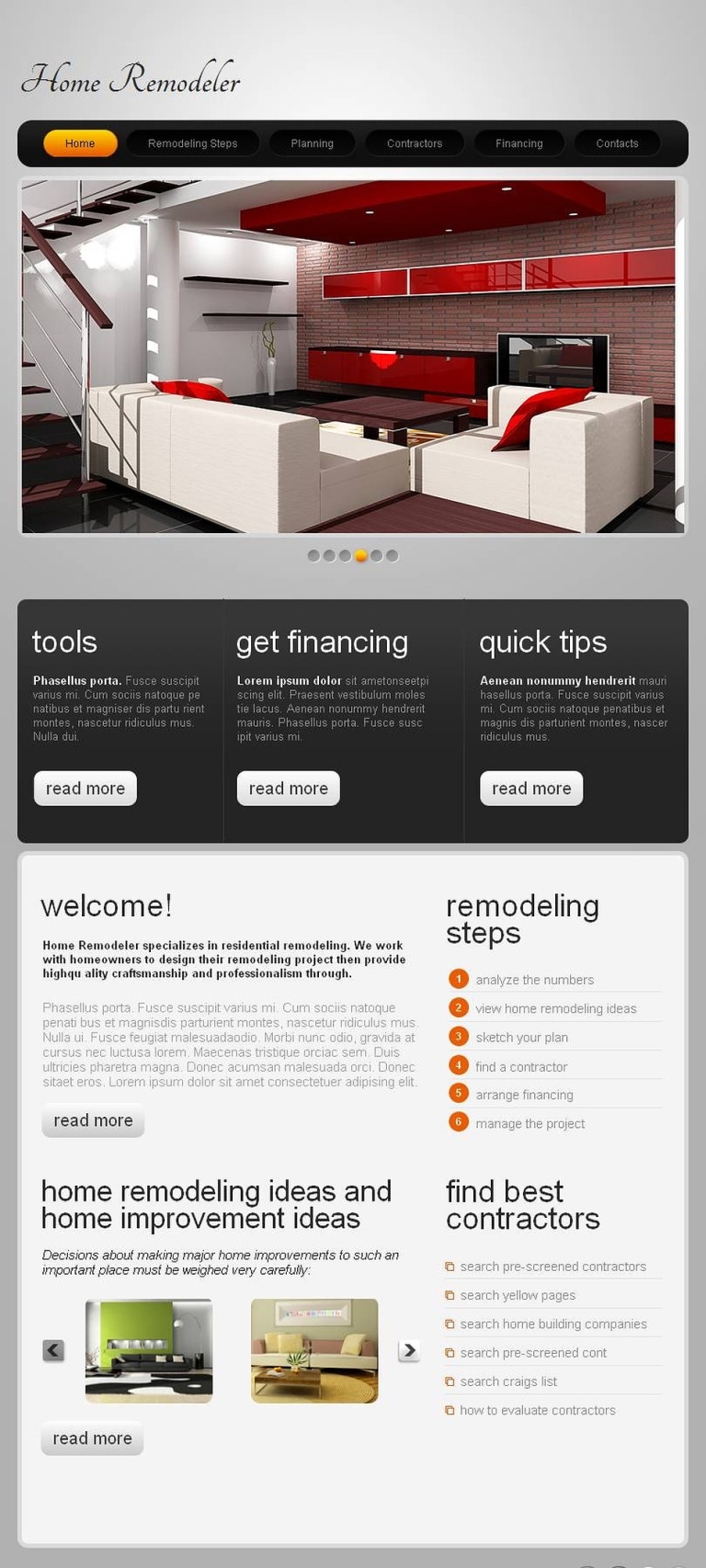 Home Remodeling Facebook HTML CMS Template New Screenshots BIG