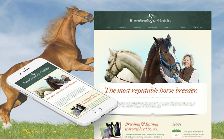 Horse Racing Moto CMS HTML Template New Screenshots BIG