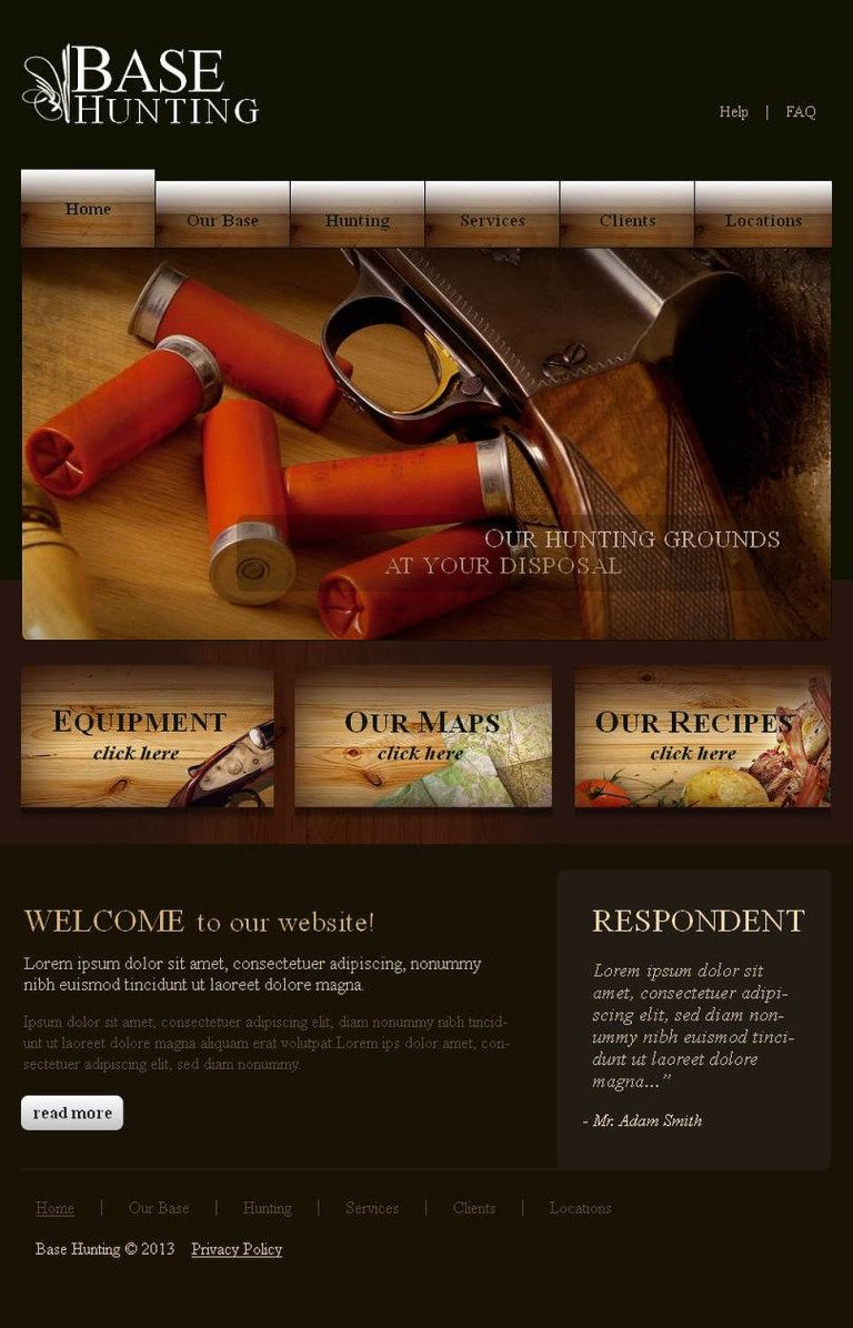 Hunting Facebook HTML CMS Template New Screenshots BIG