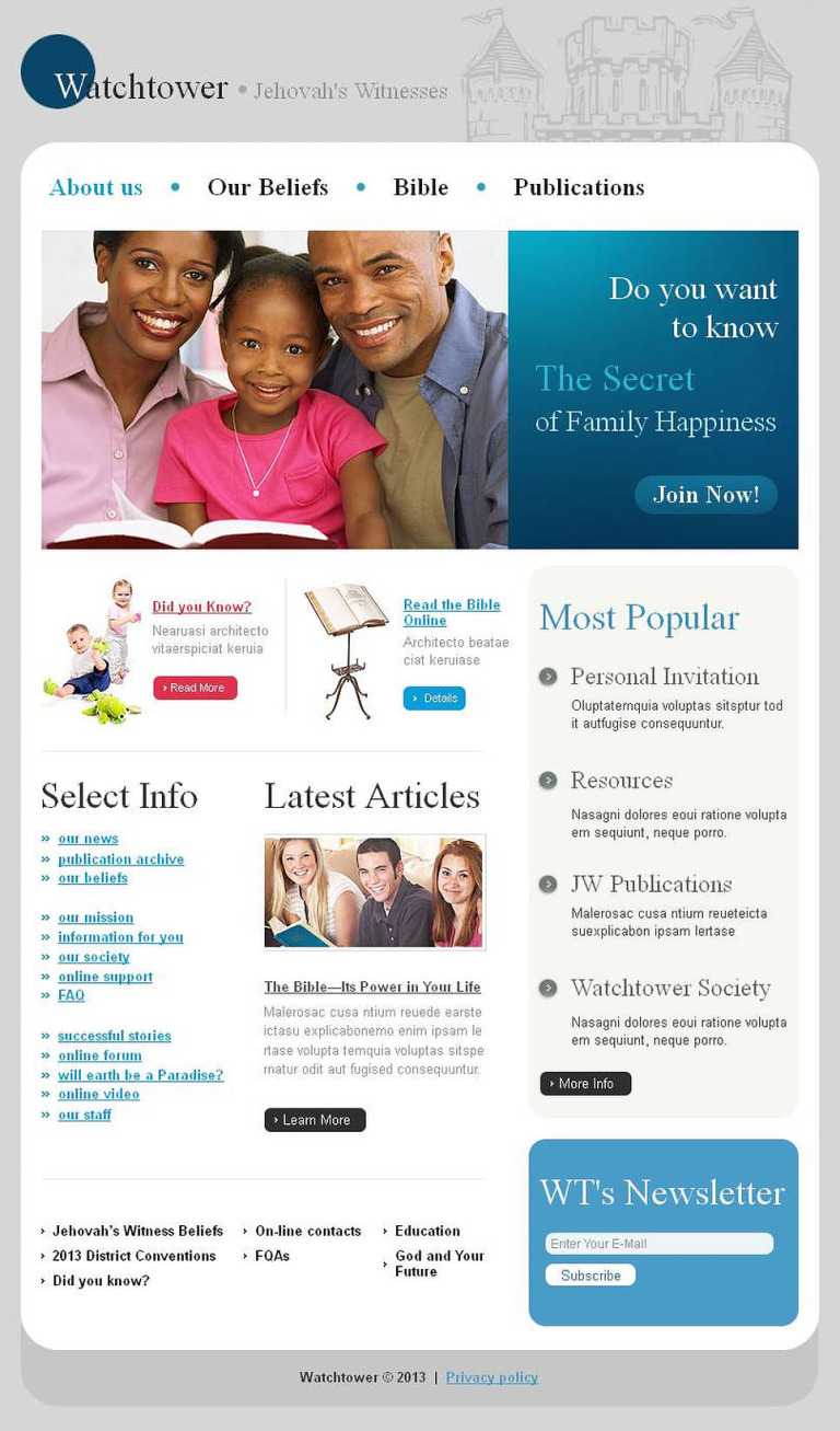 Jehovah Witnesses Facebook HTML CMS Template New Screenshots BIG
