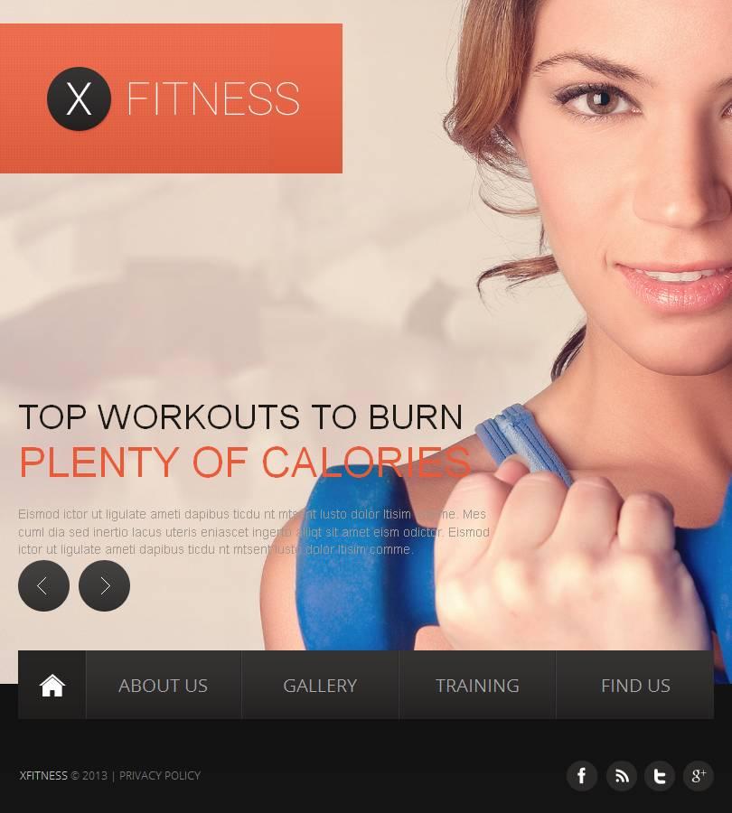 Modello Facebook HTML CMS #46490 per Un Sito di Fitness - screenshot