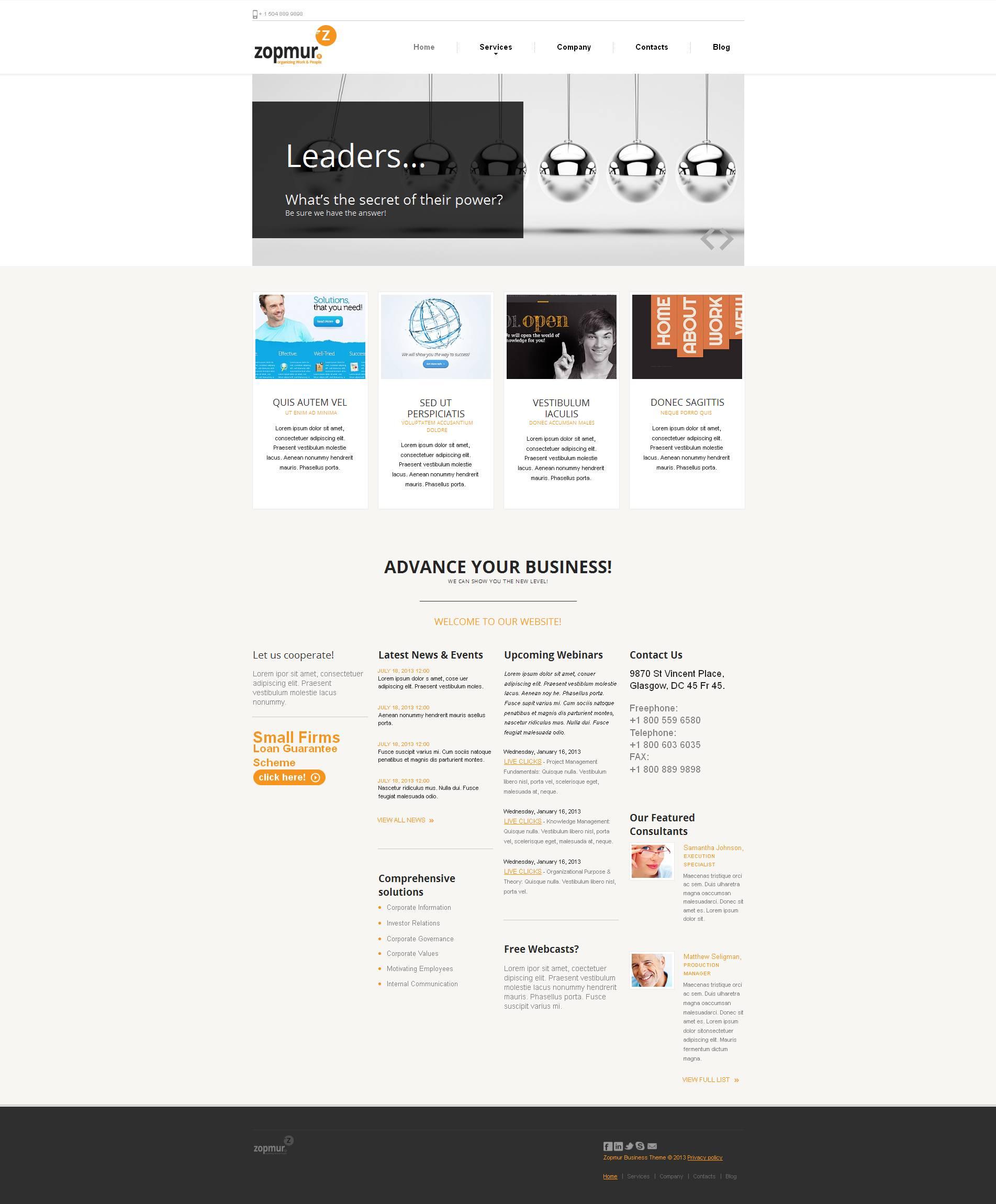 Moto CMS HTML Vorlage #46401 für SEO Website