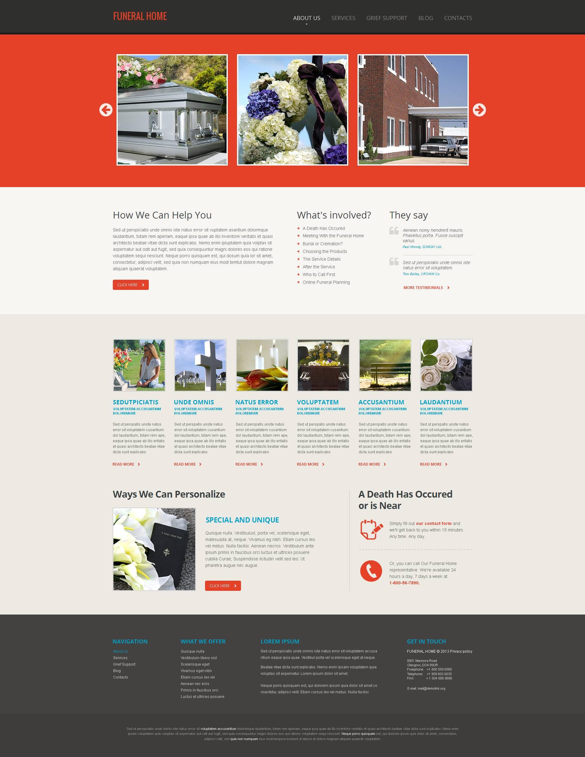 MotoCMS HTML шаблон на тему похоронне бюро №46454 - скріншот