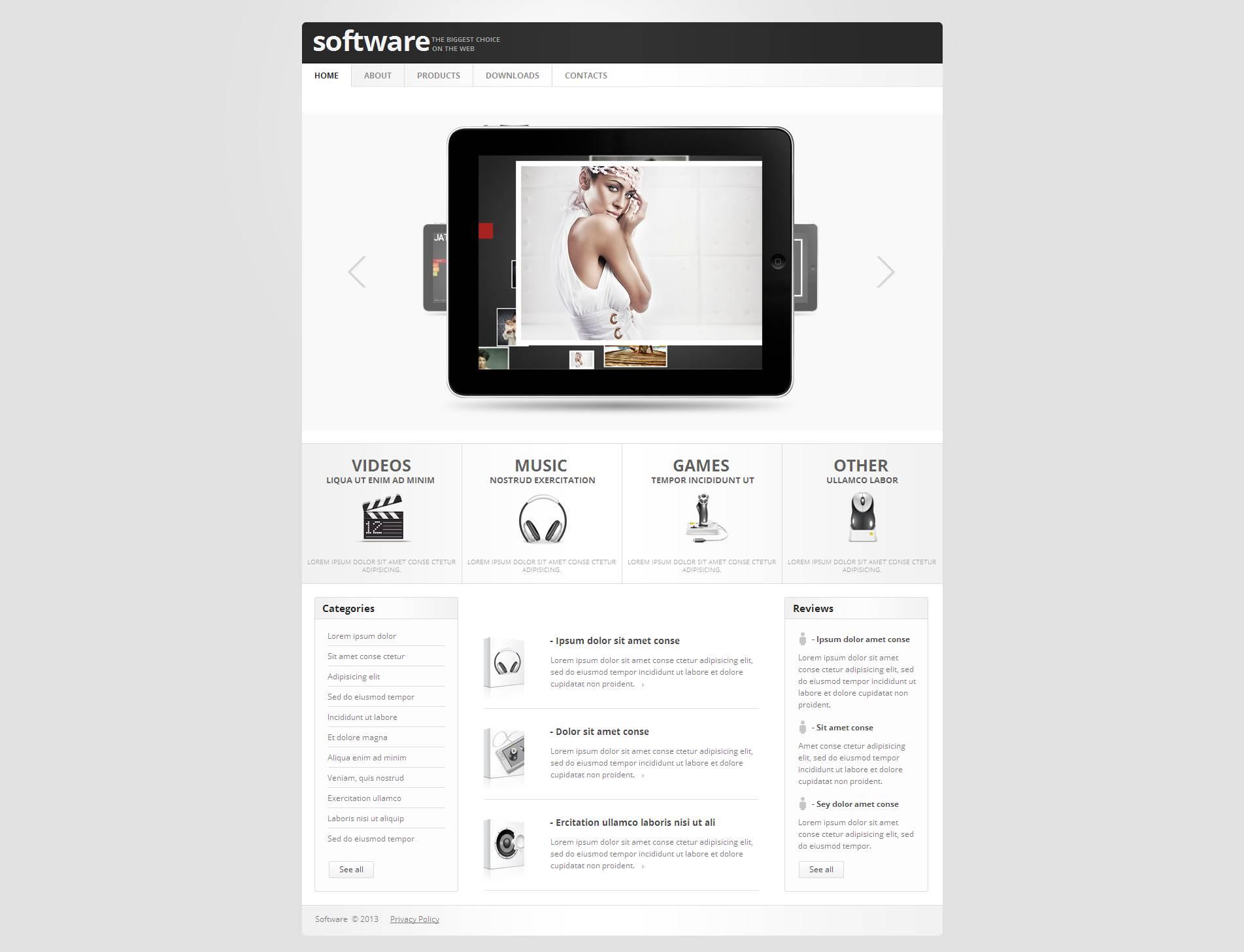 Plantilla Moto CMS HTML #46461 para Sitio de Tienda de Software