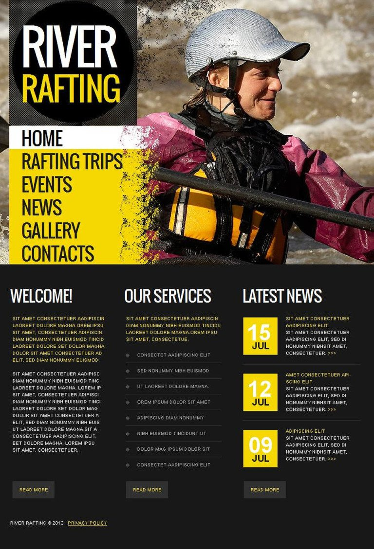 Rafting Facebook HTML CMS Template New Screenshots BIG