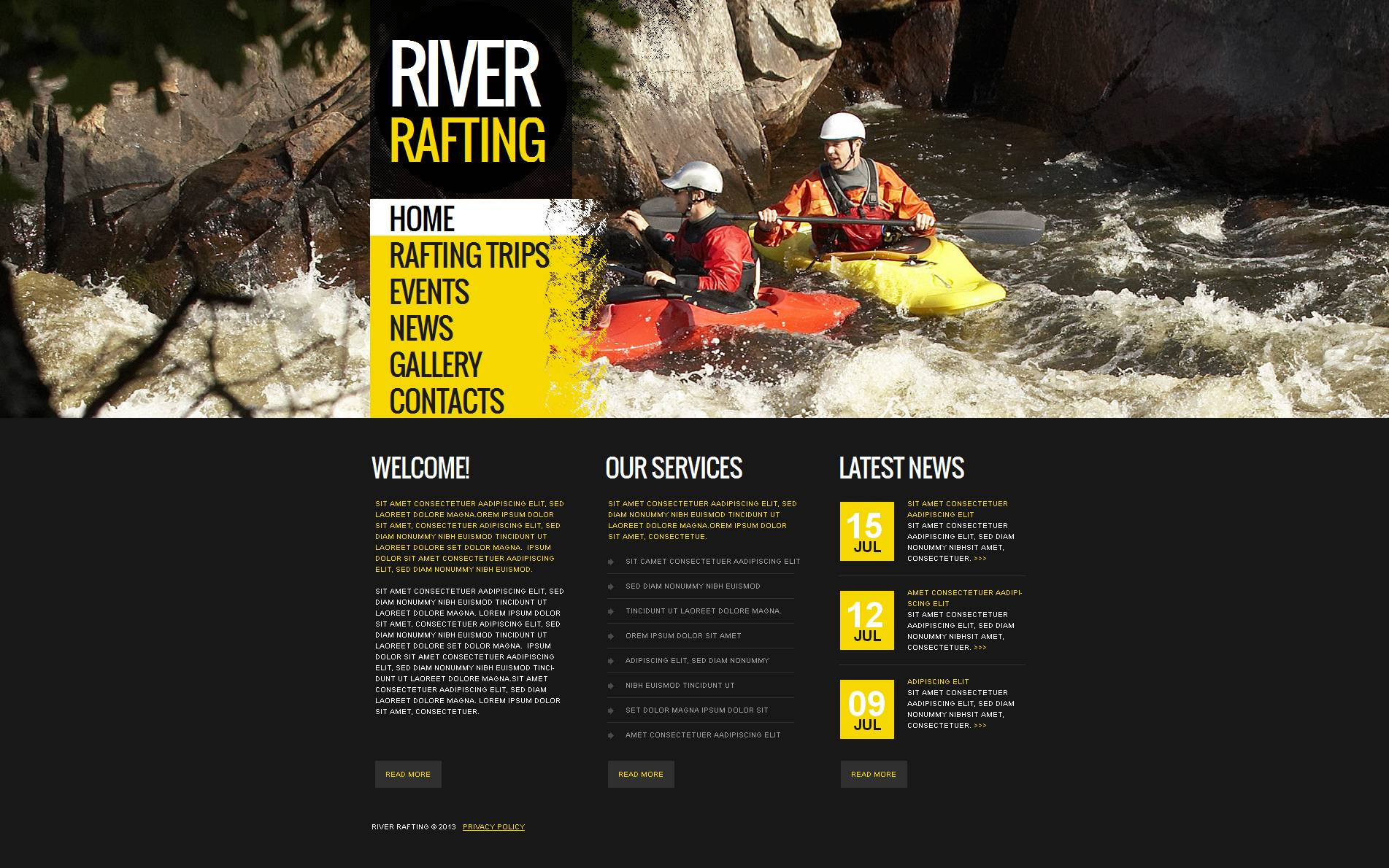 Rafting Moto CMS HTML Template