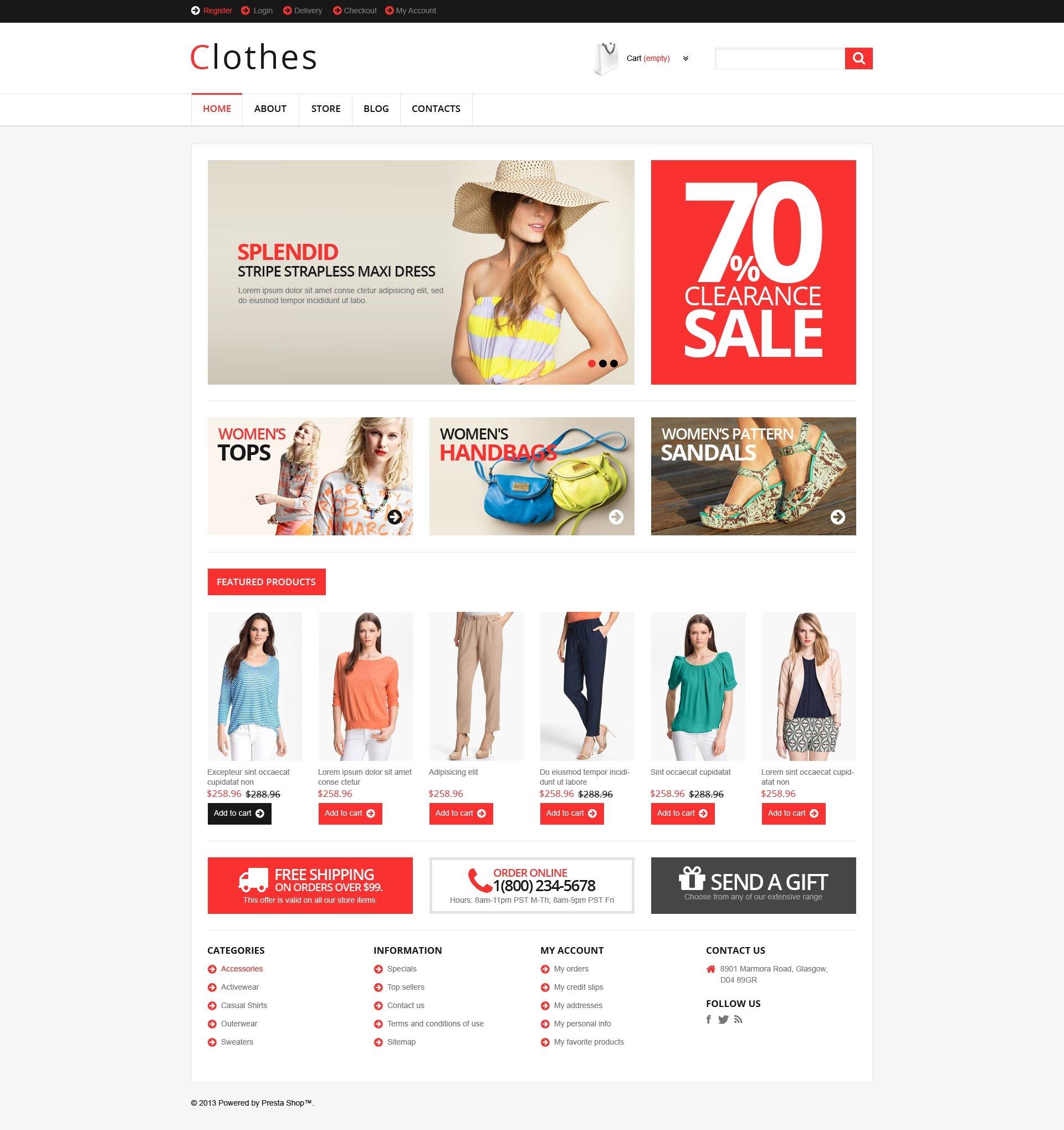 """""""Responsive Clothes Store"""" thème WooCommerce adaptatif #46434"""
