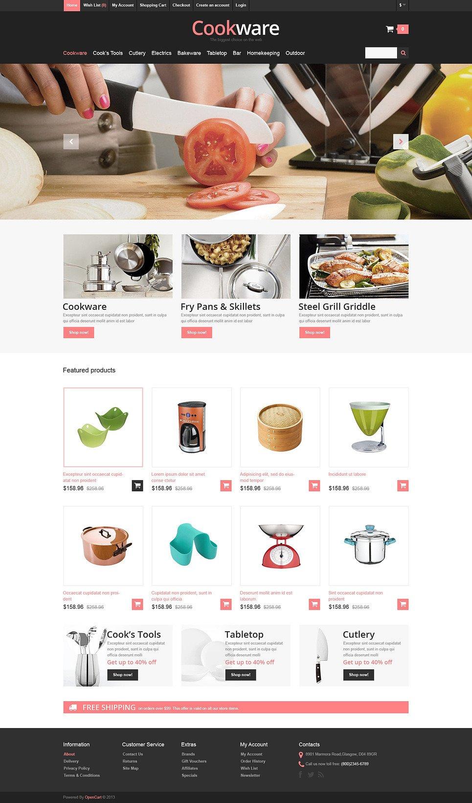 Responsive Cookware Store OpenCart Template New Screenshots BIG