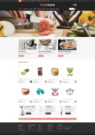 Responsive Cookware Store OpenCart Template