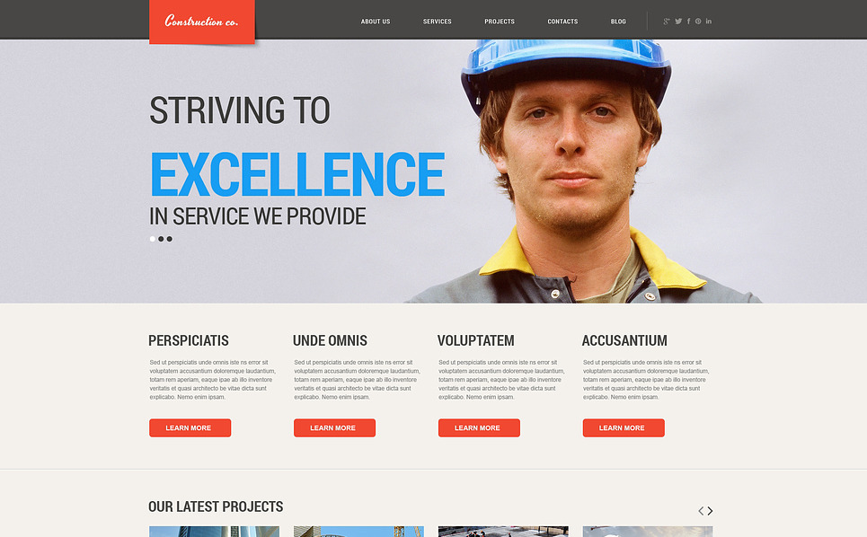 Responzivní WordPress motiv na téma Stavební společnosti New Screenshots BIG