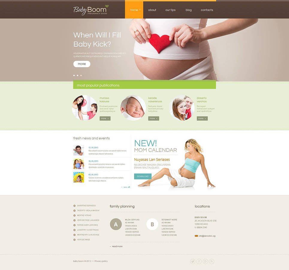 Pregnancy Website Template in Calming Colors - image