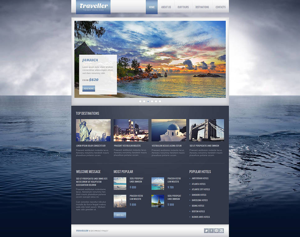 Travel Portal Template with Photography Background - image