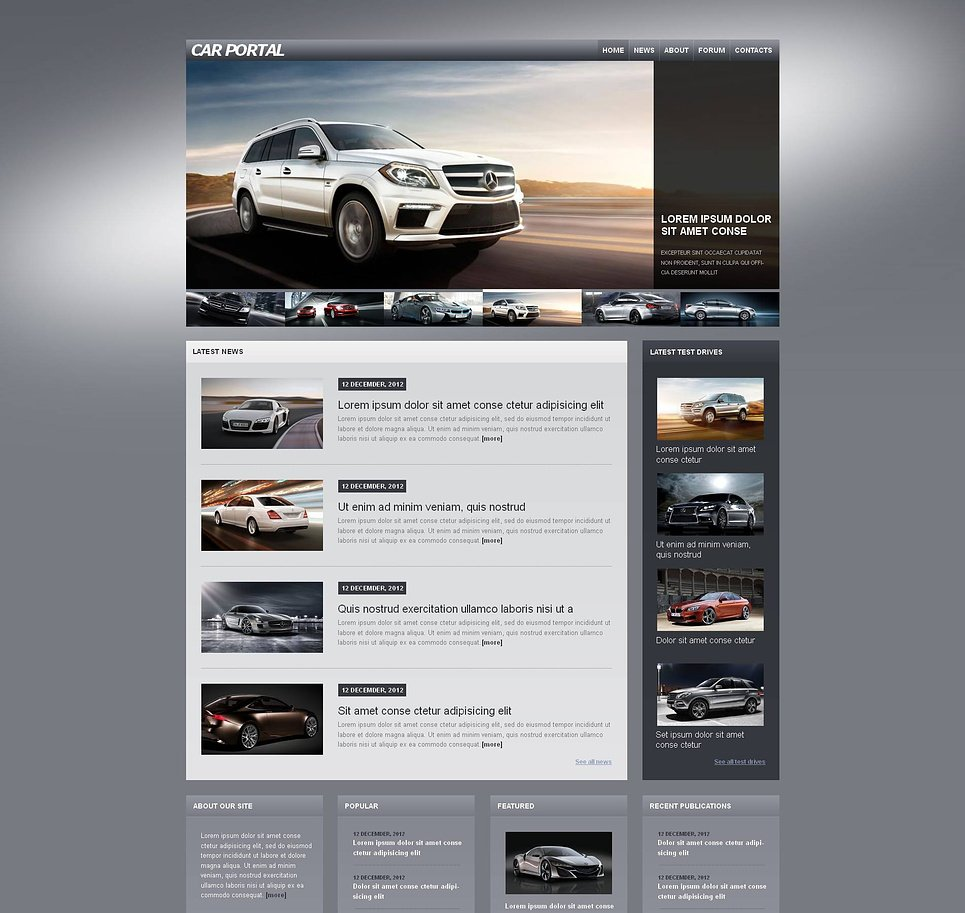 Cars Web Template with Deep Gray Background | MotoCMS