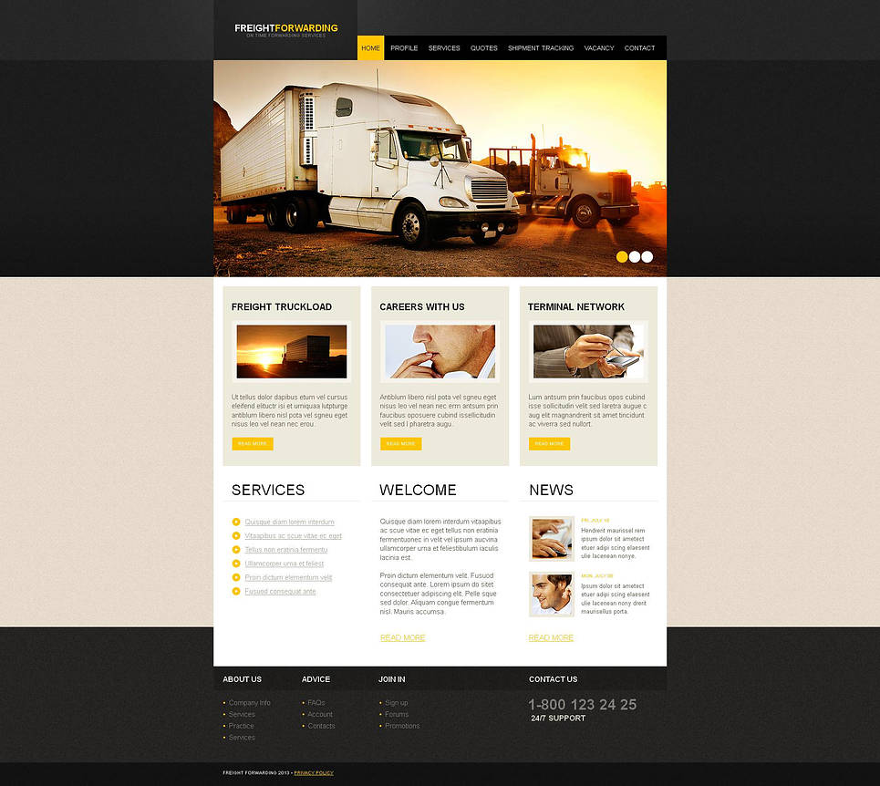 Trucking Company Website Template with jQuery Slider - image