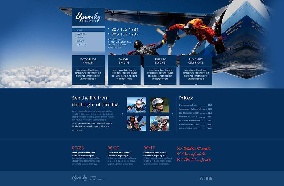 Skydiving Club Website Template Designed in Blue Tones - image