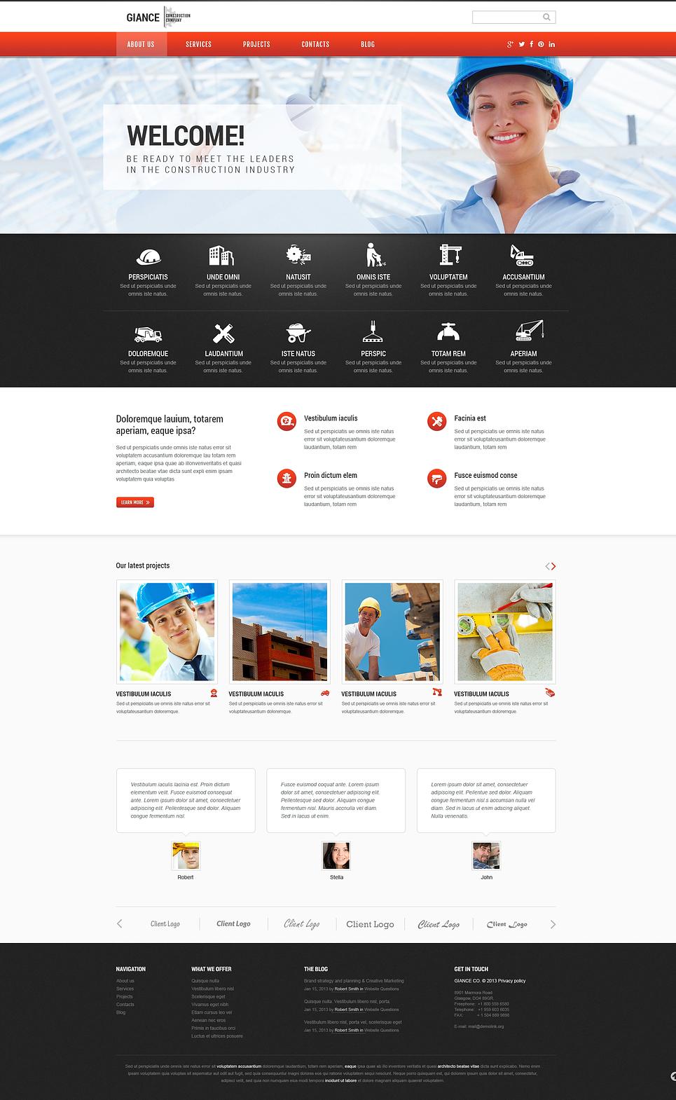 Адаптивный шаблон сайта на тему строительные компании #46544