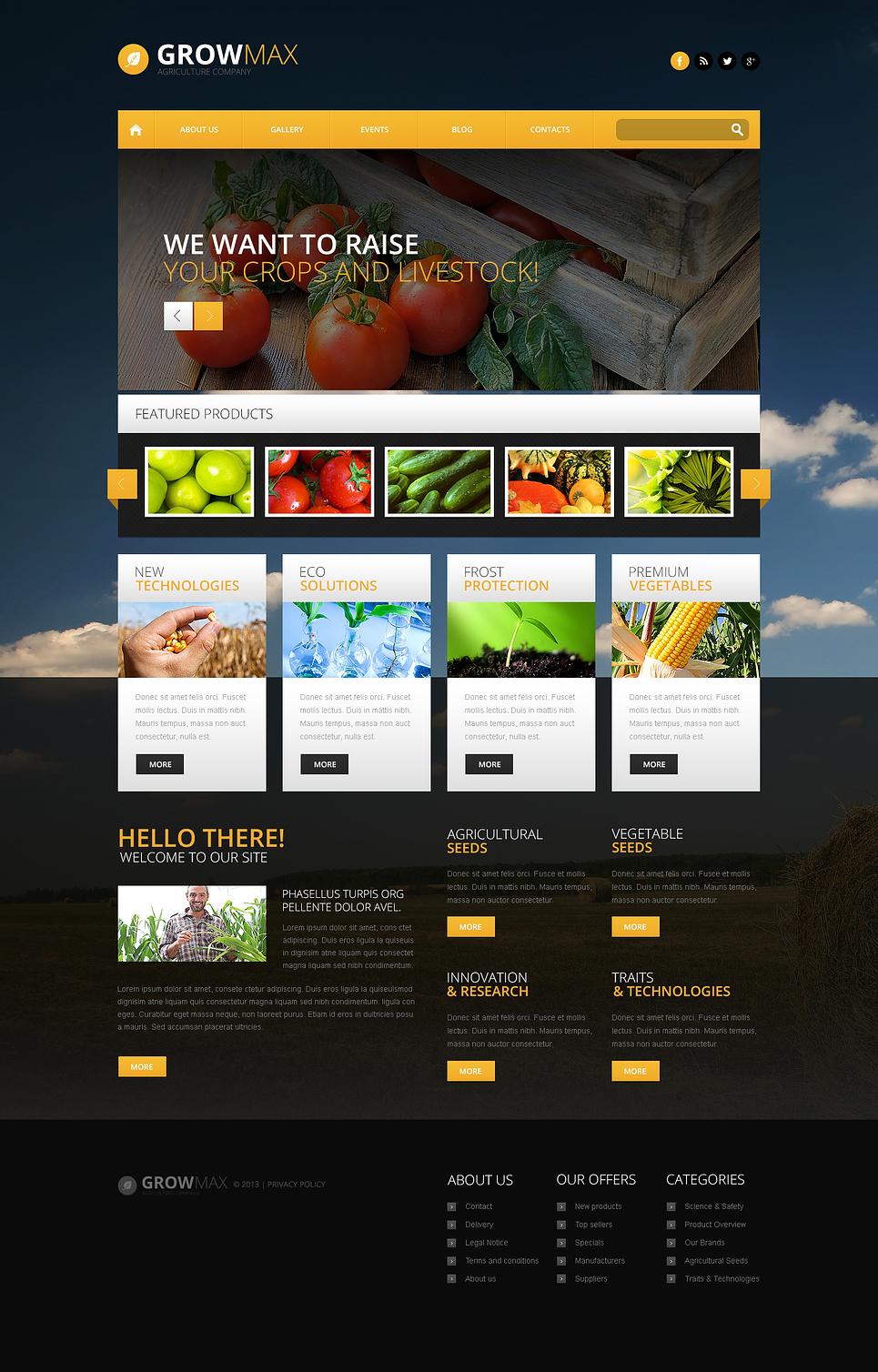 Адаптивный шаблон сайта на тему фермы #46545