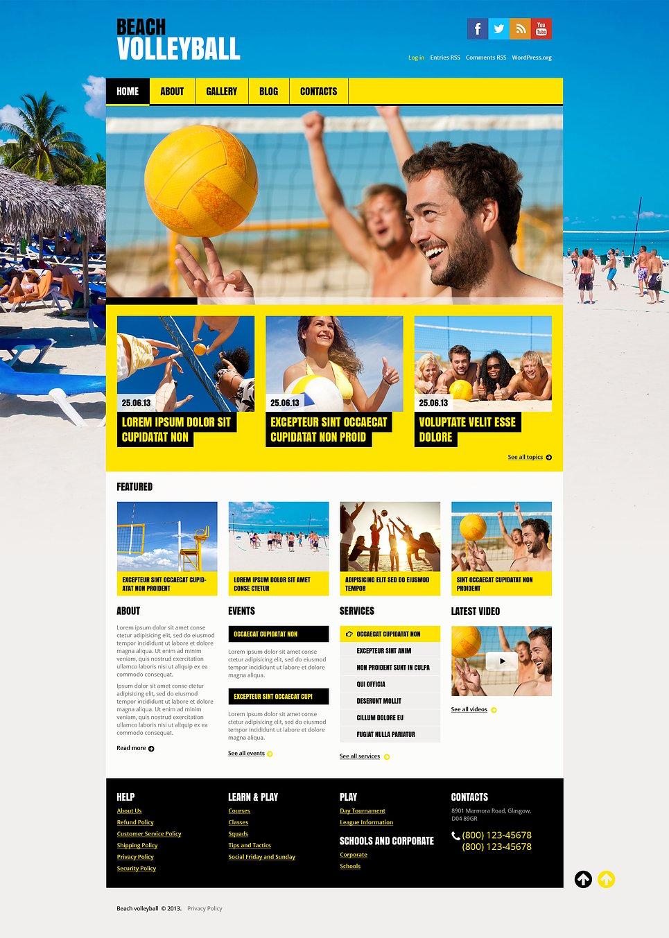 Адаптивный шаблон сайта на тему волейбол #46547
