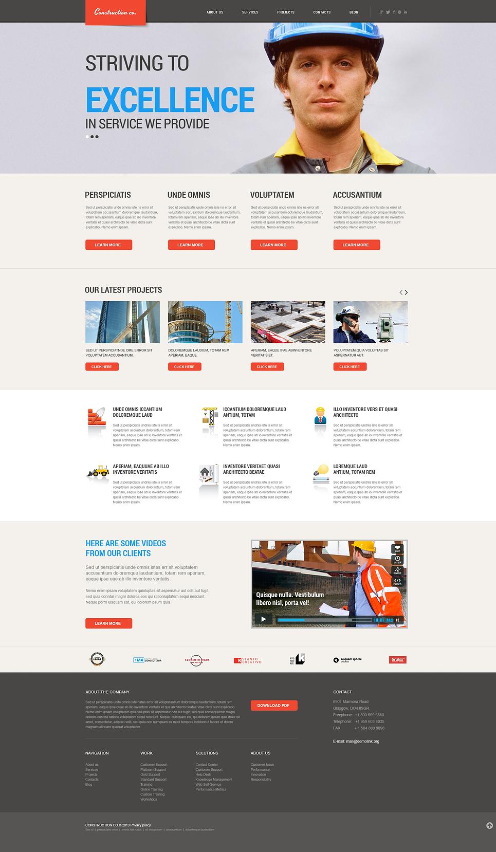 Адаптивный шаблон сайта на тему строительные компании #46569
