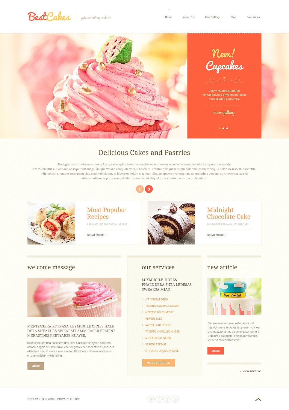 Адаптивный шаблон сайта на тему магазин сладостей #46571