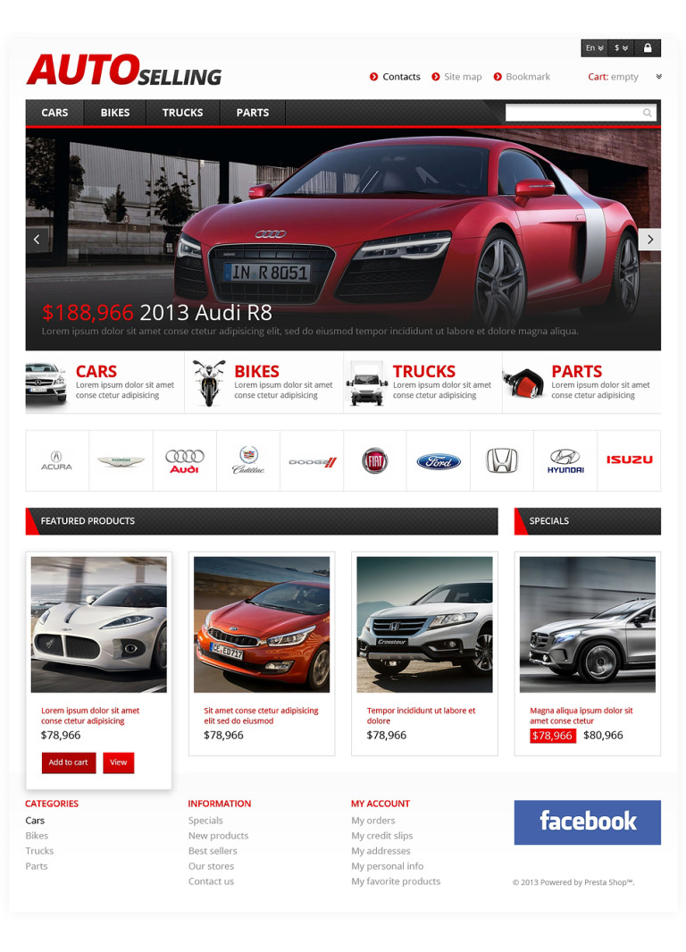 Auto Sale PrestaShop Theme New Screenshots BIG