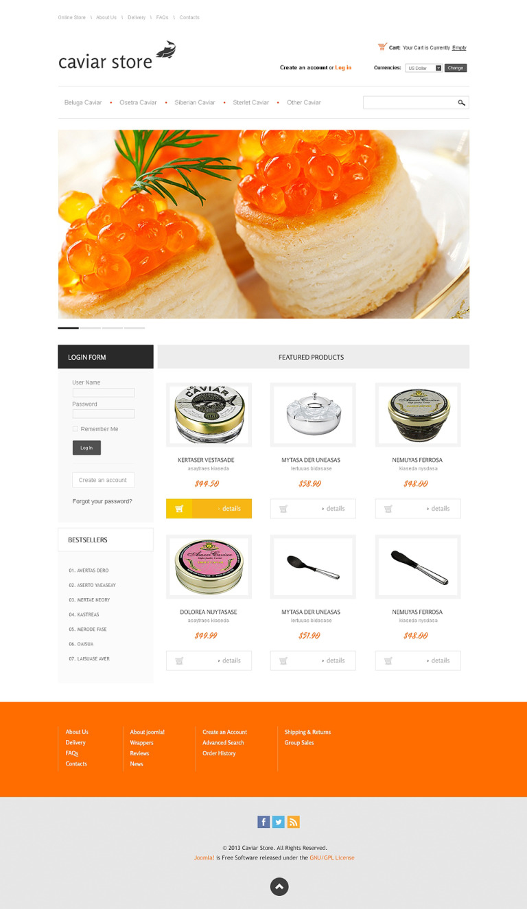 Best Caviar Store VirtueMart Template New Screenshots BIG