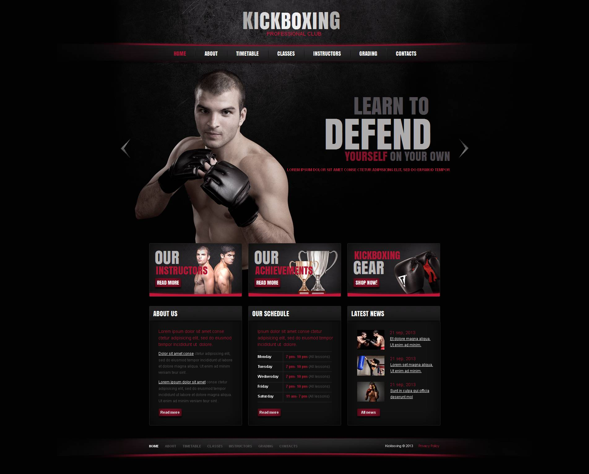Boxing Moto CMS HTML Template
