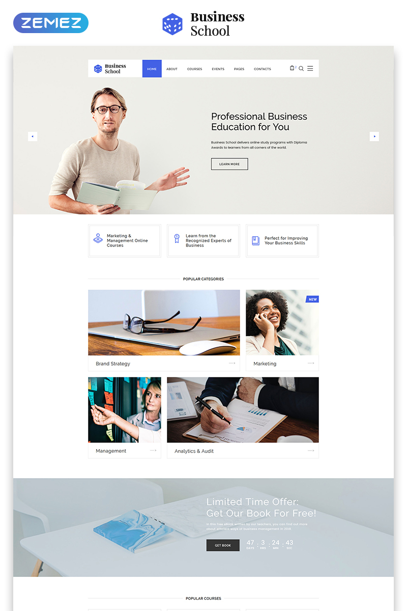 Business School - E-learning Multipage HTML Website Template - screenshot