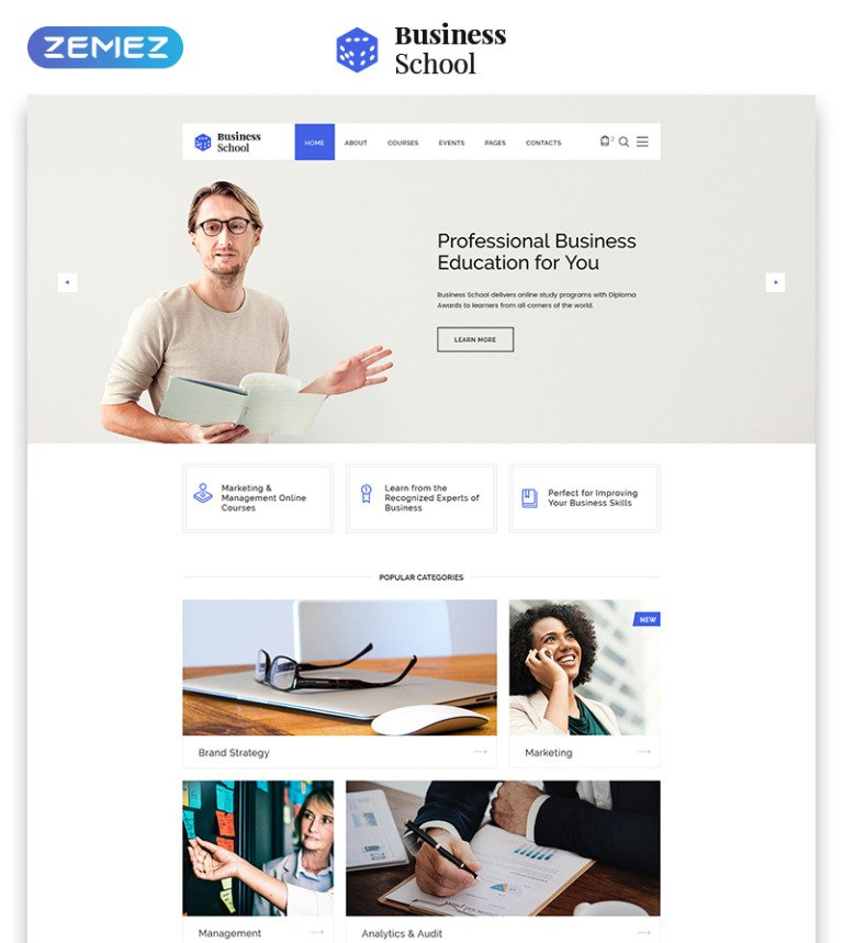 Business School - E-learning Multipage HTML Website Template
