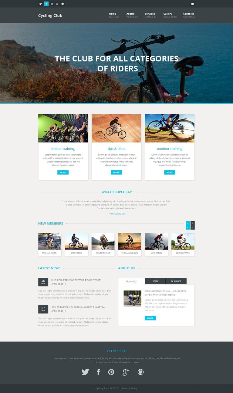 Cycling Responsive Website Template New Screenshots BIG