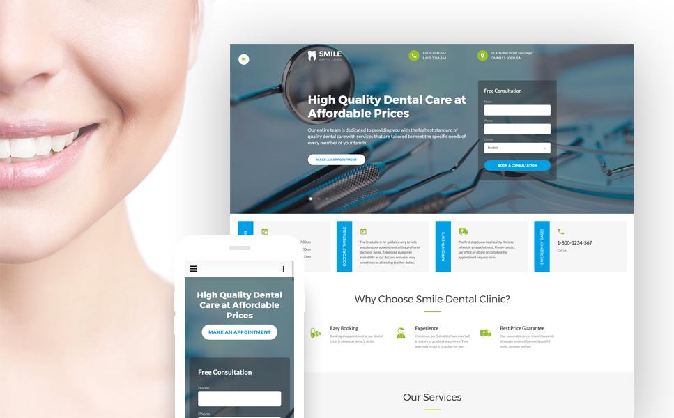 dentistry responsive website template  46574