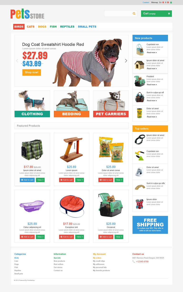 Everything Your Pet Needs PrestaShop Theme New Screenshots BIG