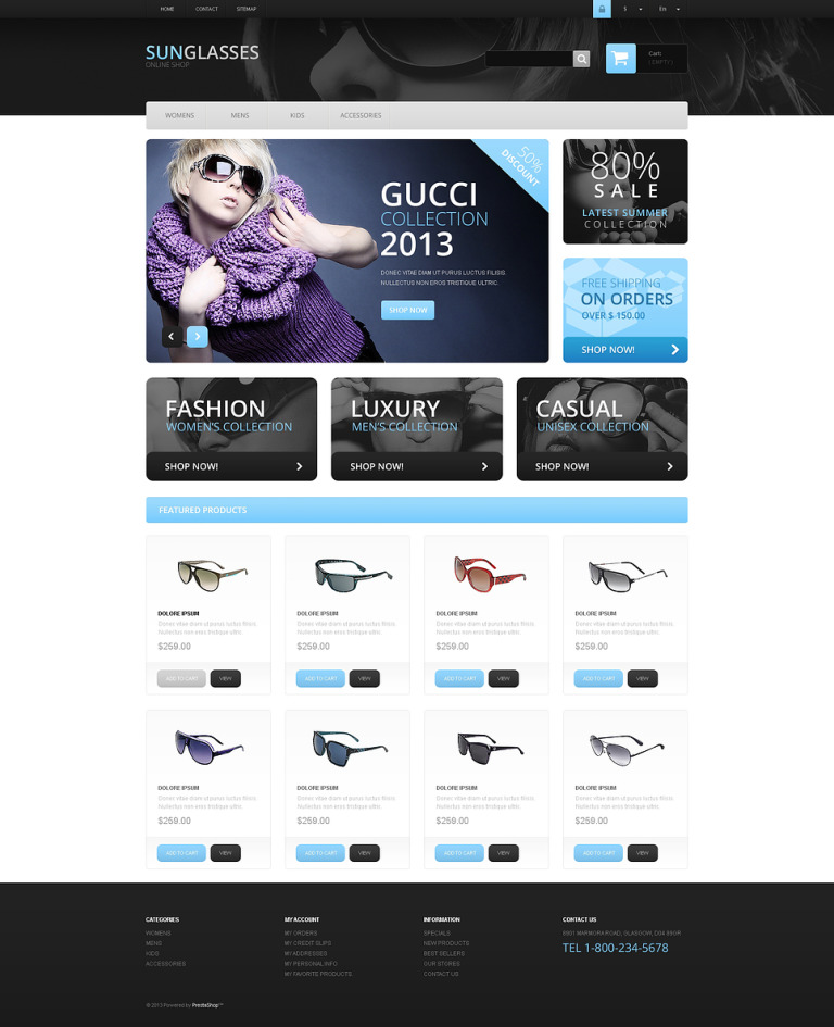 Fashionable Sunglasses PrestaShop Theme New Screenshots BIG