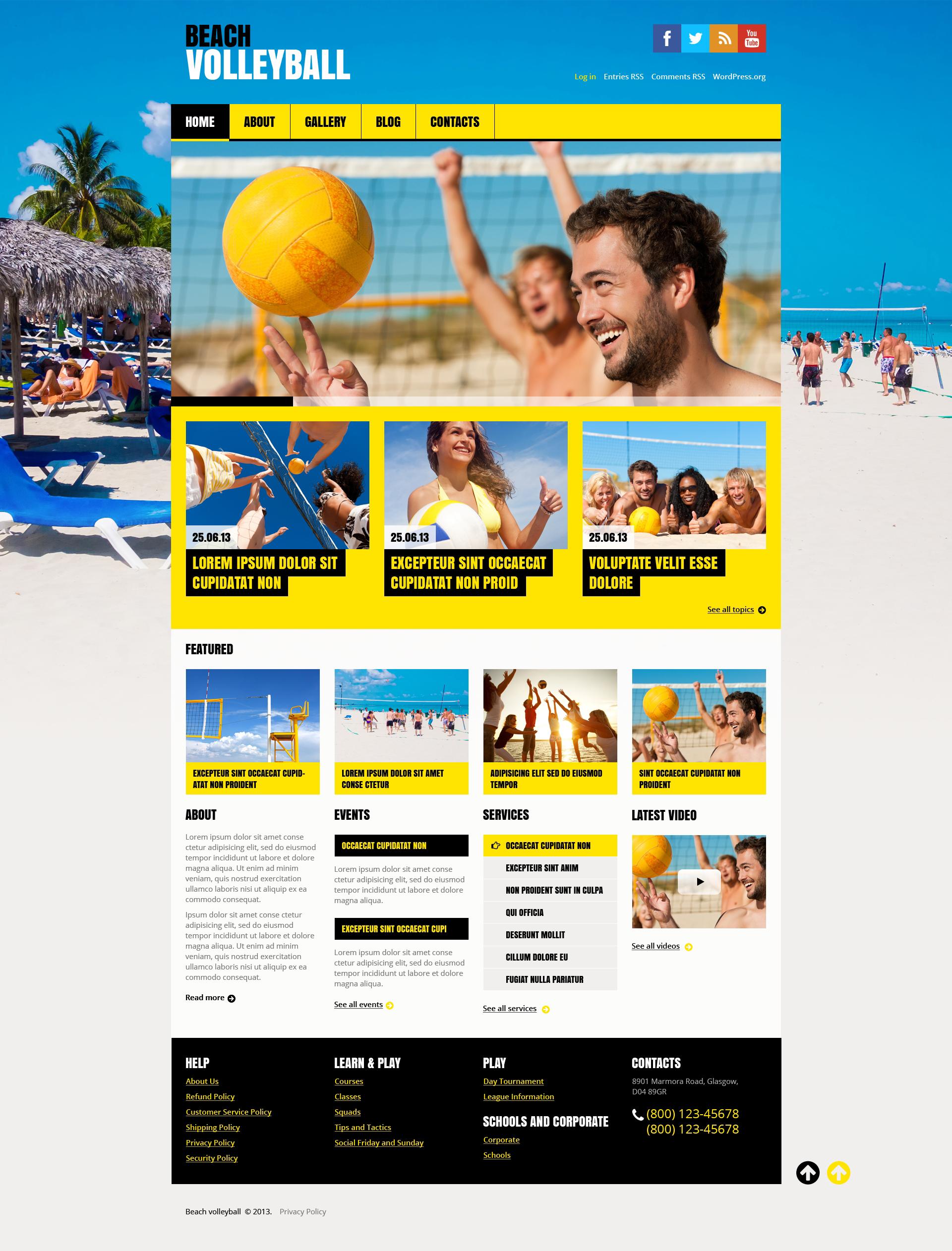 """Flat Volleyball"" Responsive WordPress thema №46547"