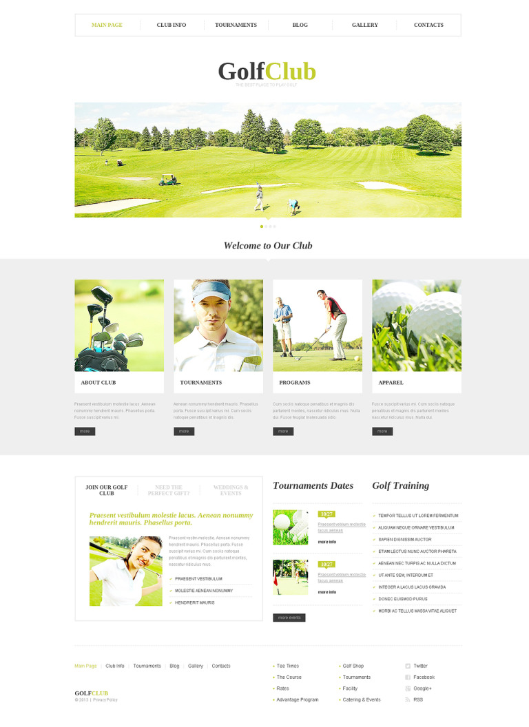 Golf Club WordPress Theme New Screenshots BIG