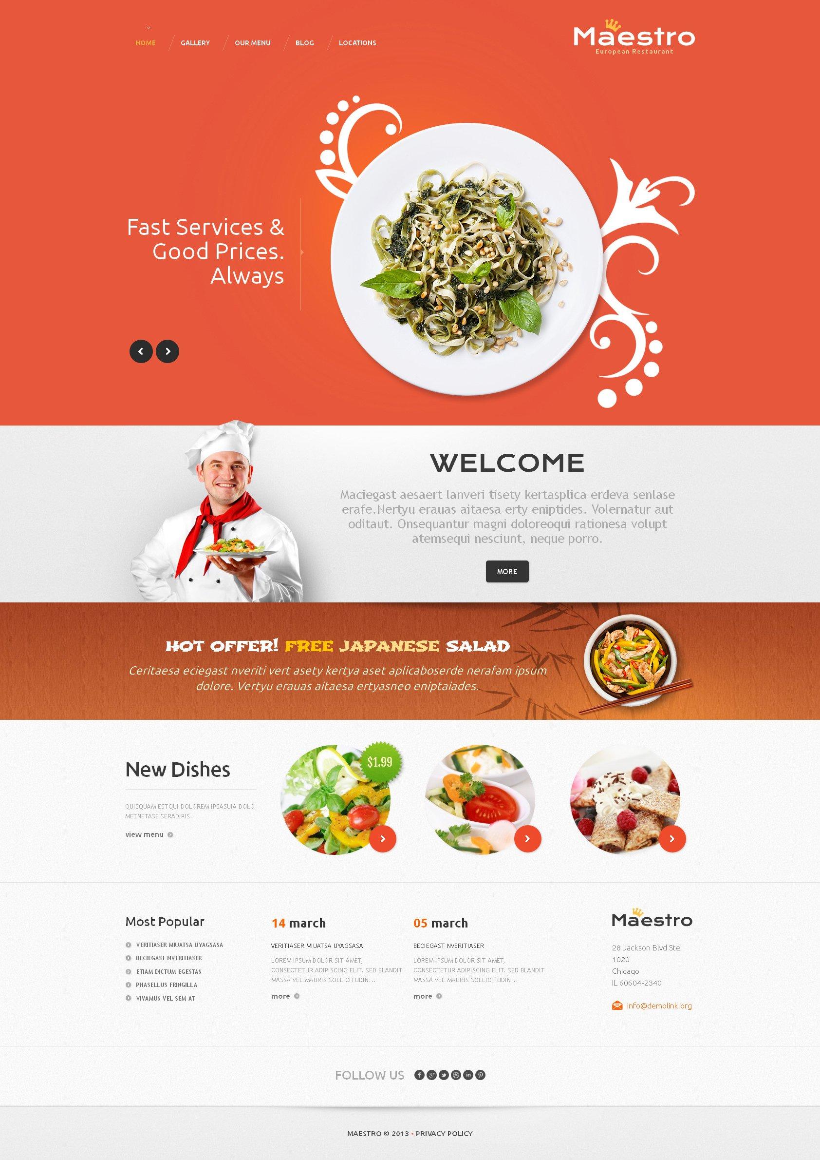 """""""Good Restaurant"""" - адаптивний WordPress шаблон №46572 - скріншот"""
