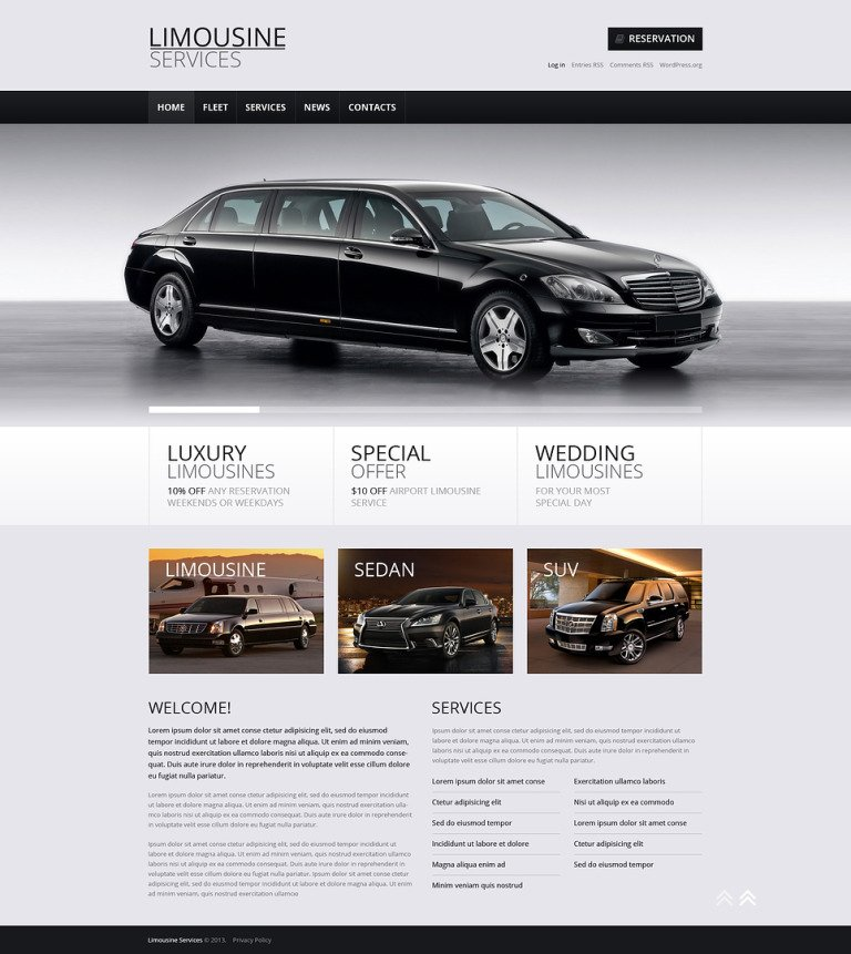Limousine Rent Store WordPress Theme New Screenshots BIG