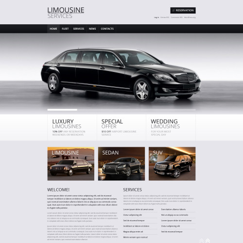 Limousine Rent Store - WordPress Template based on Bootstrap