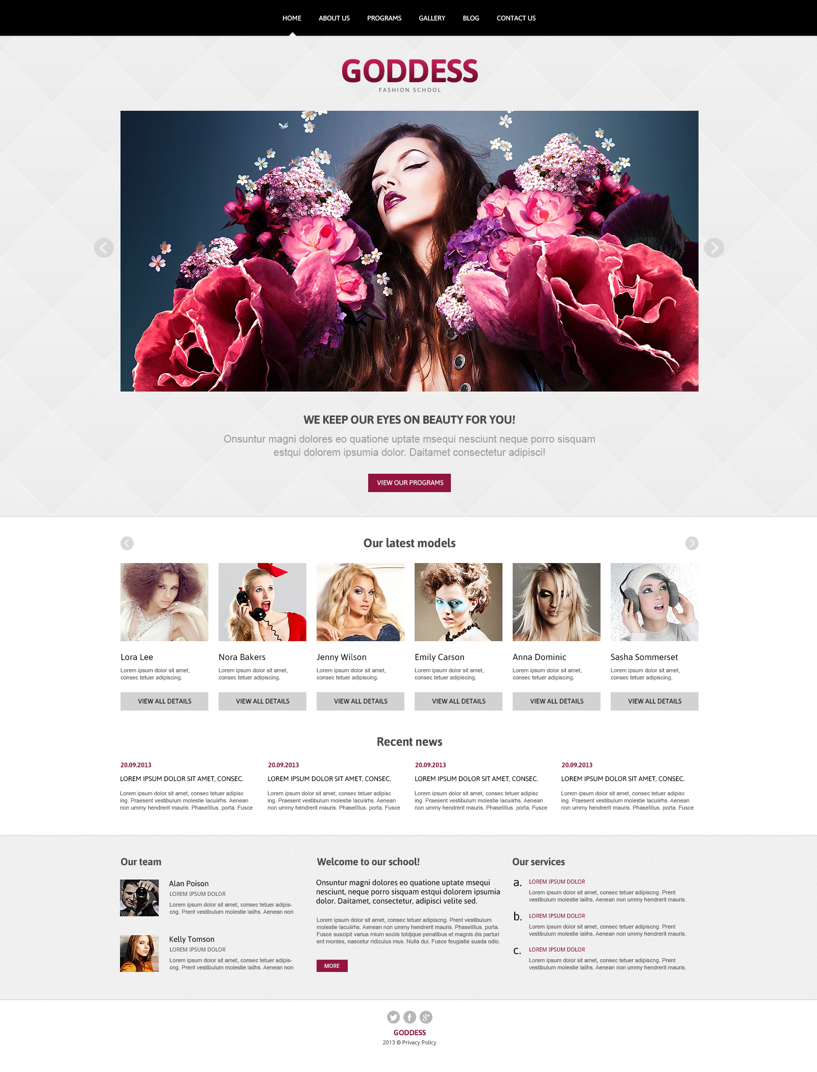 Model Agency Responsive Joomla Template - screenshot